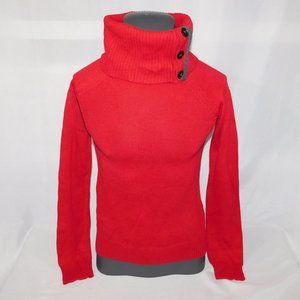 GAP Womens S Red Knit Button Turtleneck Sweater
